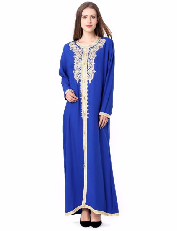 Moroccan Kaftan with Gold Accent Embroidery (Long Sleeve)