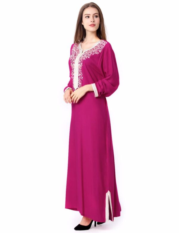 Moroccan Kaftan with White accent embroidery