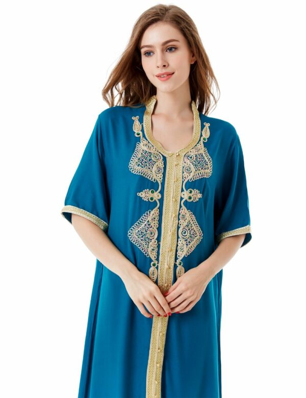 Moroccan Kaftan with Gold accent embroidery