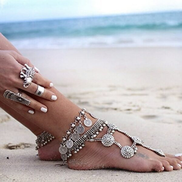 Antique Silver Coin Women's Anklet