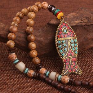 Ethnic Fish-Shaped Wooden Necklace