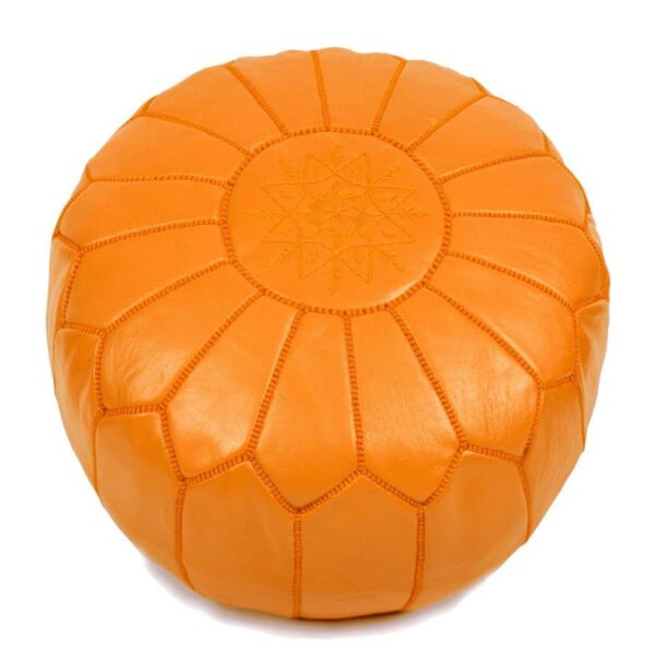 Moroccan Pouf – Leather (Orange)