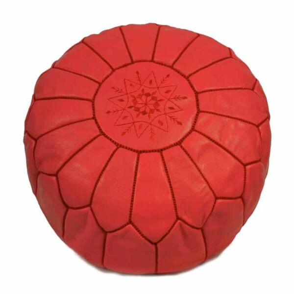 Moroccan Pouf – Leather (Red)