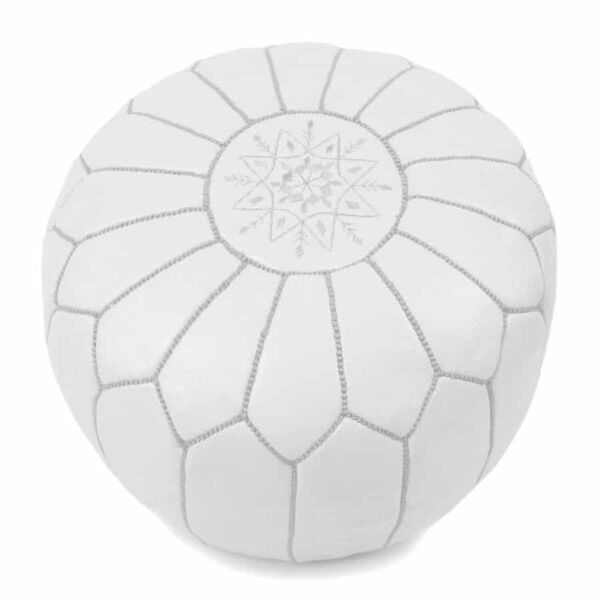 Moroccan Pouf – Leather (White)