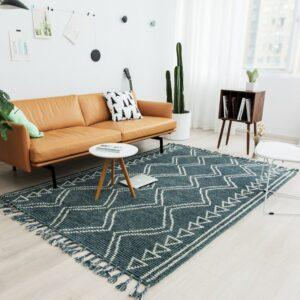 100% wool Nordic Morocco style Kilim handmade Carpet geometric Bohemia Indian Rug plaid striped Modern vintage green design