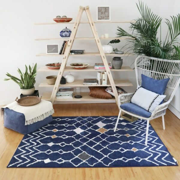 Ins hot Kilim blue Living room Bedside Carpet geometric Indian Rug striped Modern Mat Morocco design Nordic style